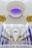 Binnenland van de Moskee van Zayed van de Sjeik, Abu Dhabi stock foto's