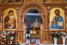 Binnenland van de orthodoxe Kerk in Samara, Rusland Stock Foto's