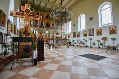 Binnenland van de Orthodoxe kerk van St Sergius van Radonezh Ryba Stock Foto's