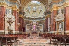 Binnenland van de rooms-katholieke kerkst Stephen ` s Basiliek Boedapest Royalty-vrije Stock Afbeeldingen