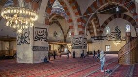 Binnenland van de Selimiye-Moskee in Edirne, Turkije stock fotografie