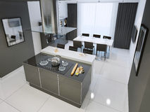 Binnenland van de Techno het zwart-witte keuken met witte bevloering Royalty-vrije Stock Afbeelding