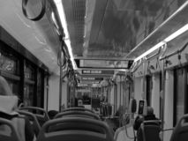 Binnenland van de tram in B/W royalty-vrije stock afbeelding