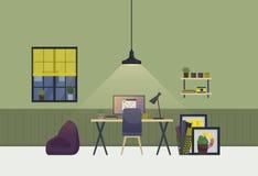 Binnenland van de werkruimte het ruime ruimte in avond Vlakke huisbaan of flat met lijst en stoel, vaas met installaties, foto vector illustratie