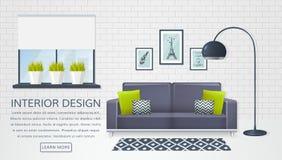 Binnenland van de woonkamer Vector banner stock illustratie