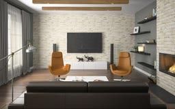 Binnenland van de zolder met sinaasappel Stock Afbeelding