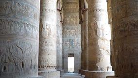 Binnenland van Dendera-tempel of Tempel van Hathor Egypte Dendera, Denderah, is een kleine stad in Egypte Denderatempel stock footage