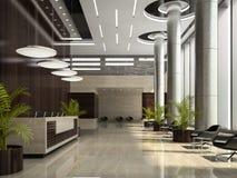 Binnenland van een 3D illustratie van de hotelontvangst Stock Afbeelding