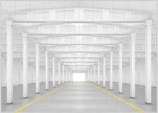 Binnenland van een fabriek of een pakhuis royalty-vrije illustratie