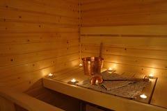 Binnenland van een Finse sauna Stock Afbeelding