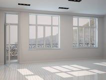 Binnenland van een heldere zonnige witte ruimte stock illustratie