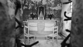 Binnenland van een kapel stock foto's