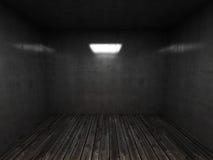 Binnenland van een lege ruimte met een oude houtvloer stock illustratie