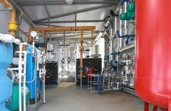 Binnenland van een modern boiler-huis Stock Foto