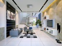 Binnenland van een modern huis met woonkamer Stock Foto's