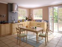 Binnenland van een moderne keuken Stock Afbeeldingen