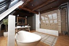Binnenland van een moderne open badkamers Stock Fotografie