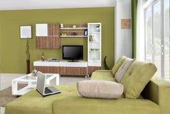 Binnenland van een moderne woonkamer in kleur royalty-vrije stock foto's