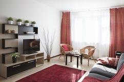 Binnenland van een moderne woonkamer wordt geschoten die Royalty-vrije Stock Foto's
