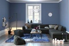Binnenland van een moderne zitkamer in grijs en blauw stock illustratie