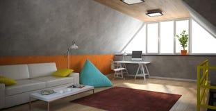 Binnenland van een moderne zolder met geel traliewerk en oranje muur Royalty-vrije Stock Afbeeldingen