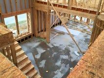 Binnenland van een nieuw huisbouw Stock Fotografie
