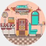 Binnenland van een oude Amerikaanse diner restaurant Oude juke-box in een bar Royalty-vrije Stock Fotografie