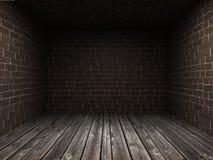 Binnenland van een oude donkere ruimte met royalty-vrije stock afbeeldingen