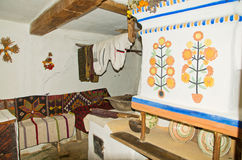 Binnenland van een oude hut Royalty-vrije Stock Foto's