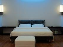 Binnenland van een slaapkamer met een bed Stock Foto