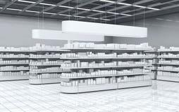 Binnenland van een supermarkt met planken met goederen 3D Illustratie Stock Foto