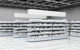 Binnenland van een supermarkt met planken met goederen 3D Illustratie Royalty-vrije Stock Foto