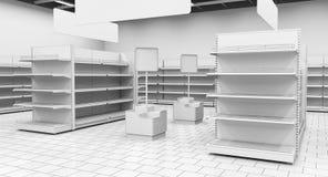 Binnenland van een supermarkt met planken voor goederen 3D Illustratie Royalty-vrije Stock Foto's