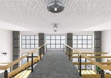 Binnenland van eerste verdieping van huis het 3d teruggeven Stock Foto
