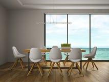 Binnenland van eetkamer met witte stoelen Royalty-vrije Stock Foto's