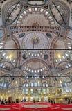 Binnenland van Fatih Mosque in Istanboel, Turkije Stock Foto