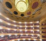 Binnenland van Gran Teatre del Liceu, operahuis royalty-vrije stock afbeeldingen