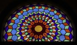 Binnenland van Grote Moskee van Cordoba, Gebrandschilderd glasvenster Cordo stock afbeeldingen