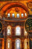 Binnenland van Hagia Sophia in Istanboel, Turkije stock foto's