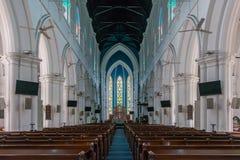 Binnenland van Heilige Andrew Cathedral in Singapore, selectieve nadruk Stock Afbeeldingen