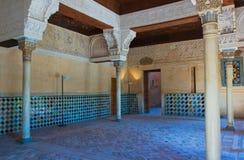 Binnenland van het Alhambra Kasteel, Granada, Spanje Royalty-vrije Stock Fotografie