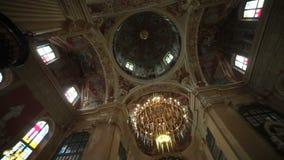 Binnenland van het Corpus Christi Church, Nesvizh, Wit-Rusland stock footage