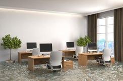 Binnenland van het huis met water wordt overstroomd dat 3D Illustratie vector illustratie