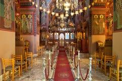 Binnenland van het Klooster van Panagia Kalyviani op 25 Juli in Heraklion op Kreta, Griekenland Het Klooster van Stock Afbeelding