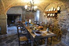 Binnenland van het middeleeuwse kasteel van lavaux-Sainte-Anne, België Stock Fotografie
