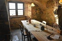 Binnenland van het middeleeuwse kasteel van lavaux-Sainte-Anne, België Royalty-vrije Stock Foto