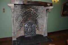 Binnenland van het middeleeuwse kasteel van lavaux-Sainte-Anne, België Stock Afbeeldingen