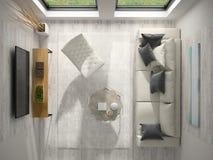 Binnenland van het moderne hoogste de mening van de ontwerpruimte 3D teruggeven Royalty-vrije Stock Foto's