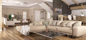 Binnenland van het moderne huispanorama 3d teruggeven royalty-vrije stock foto's