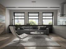 Binnenland van het moderne ontwerpruimte 3D teruggeven Stock Afbeelding